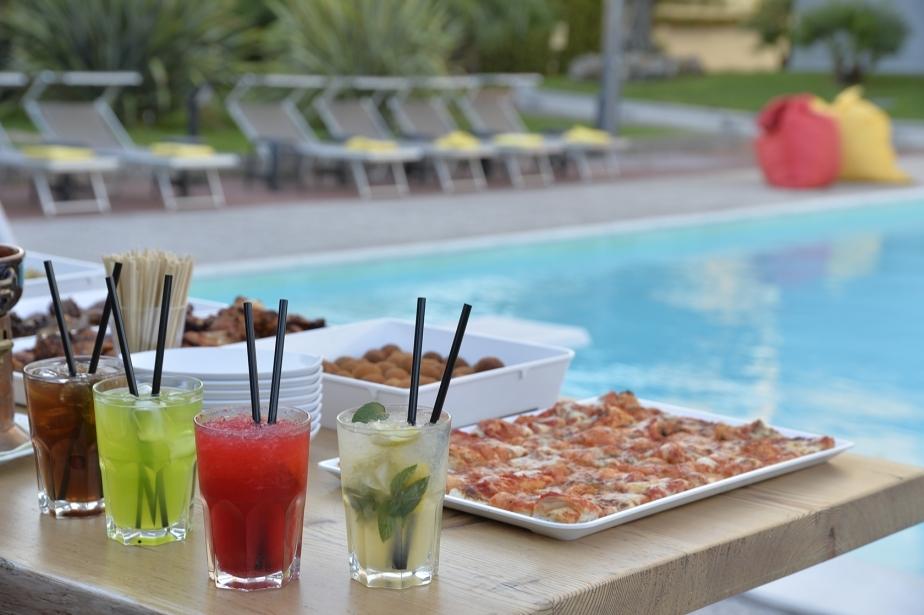 Enjoy a drink near the pool